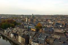 Vogelperspektive, von der Zitadelle, der Stadt von Namur, Belgien, Europa Lizenzfreie Stockfotografie