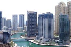 Vogelperspektive von Dubai-Jachthafen, von weithin bekanntem Bezirk durch Reisebetreiber und von Touristen stockfoto