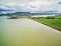 Vogelperspektive von Dunnaley-Bucht, Tasmanien Lizenzfreies Stockbild