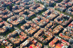 Vogelperspektive von Eixample-Bezirk Barcelona, Spanien Lizenzfreie Stockfotografie