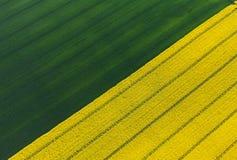 Vogelperspektive von Erntefeldern lizenzfreie stockbilder