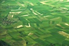 Vogelperspektive von Feldern in Frankreich Lizenzfreies Stockbild