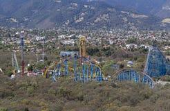 Vogelperspektive von Flaggen des Vergnügungsparks sechs in Mexiko City Stockfoto