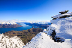 Vogelperspektive von Frankton und von See WakatipuQueenstown, Neuseeland Lizenzfreie Stockfotos