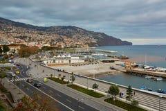 Vogelperspektive von Funchal, Hauptstadt auf Madeira-Insel lizenzfreies stockfoto