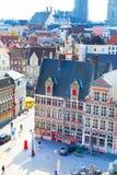 Vogelperspektive von Gent mit den quadratischen und netten mittelalterlichen Gebäuden, Belgien Lizenzfreie Stockfotografie