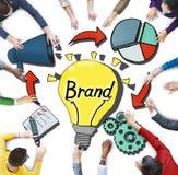 Vogelperspektive von Geschäftsleuten und von Branding-Konzepten Lizenzfreie Stockbilder