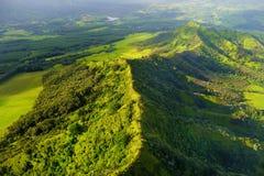 Vogelperspektive von Grünfeldern auf Kauai, Hawaii Stockbilder