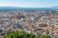 Vogelperspektive von Granada-Kathedrale und von Stadt von Granada stockbild