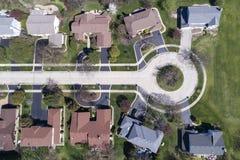 Vogelperspektive von Häusern in einer Sackgasse stockbild