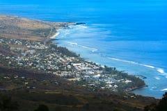 Vogelperspektive von Heilig-Leu bei Reunion Island lizenzfreie stockfotos