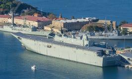 Vogelperspektive von HMAS Adelaide der königlichen australischen Marine Stockfoto