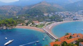 Vogelperspektive von Hotels auf der Insel, Montenegro, Sveti Stefan 4 stock video footage