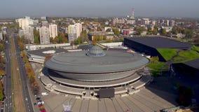 Vogelperspektive von im Stadtzentrum gelegenem Katowice, Schlesien-Provinz, Polen stock video