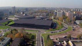 Vogelperspektive von im Stadtzentrum gelegenem Katowice, Schlesien-Provinz, Polen stock footage