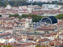 Vogelperspektive von im Stadtzentrum gelegenem Lyon Frankreich Stockfotografie