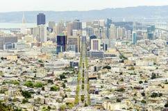 Vogelperspektive von im Stadtzentrum gelegenem San Francisco Stockbild