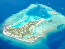 Vogelperspektive von Insel, Malediven Lizenzfreie Stockfotos