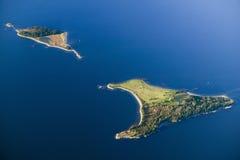 Vogelperspektive von Insel südlich des Acadia-Nationalparks, Maine Lizenzfreies Stockfoto