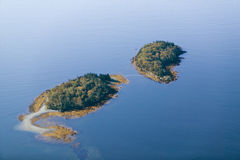 Vogelperspektive von Inseln nahe Acadia-Nationalpark, Maine Lizenzfreies Stockbild