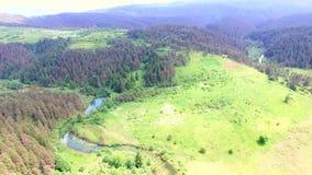 Vogelperspektive von Jesenica-Fluss stock video