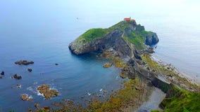 Vogelperspektive von Küsten-San Juan de Gazteluatxe, Spanien stockbild
