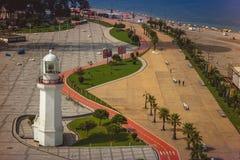 Vogelperspektive von Küstenurlaubsstadt Batumi - Hauptstadt von Adjara, G Stockbild