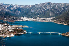 Vogelperspektive von Kawaguchiko See Lizenzfreie Stockbilder