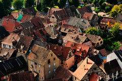 Vogelperspektive von Kaysersberg, Frankreich Lizenzfreie Stockfotografie