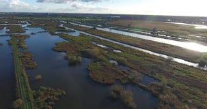 Vogelperspektive von Kinderdijk-Windm?hlenseen, Sonnenuntergang, die Niederlande stock video