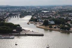 Vogelperspektive von Koblenz stockfotografie