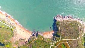 Vogelperspektive von La-Pierre Blanche-Strand in Prefailles lizenzfreie stockbilder