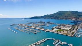 Vogelperspektive von La Spezia, Italien stockbild