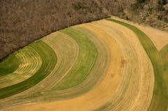 Vogelperspektive von landwirtschaftlichen Feldern Stockbilder