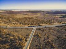 Vogelperspektive von landwirtschaftlichen Feldern von Kingston lizenzfreie stockfotos