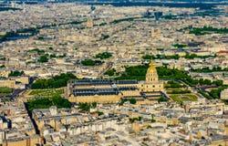 Vogelperspektive von Les Invalides vom Eiffel Towe Lizenzfreies Stockfoto