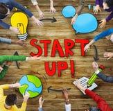 Vogelperspektive von Leute-und Start-Geschäfts-Konzepten Lizenzfreie Stockbilder
