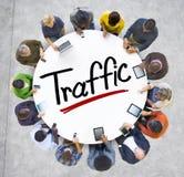 Vogelperspektive von Leuten und von Verkehrs-Konzepten Lizenzfreie Stockfotografie