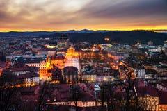 Vogelperspektive von Ljubljana, Slowenien Stadtzentrum lizenzfreies stockfoto