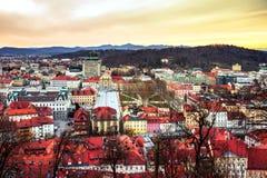 Vogelperspektive von Ljubljana, Slowenien Stadtzentrum lizenzfreie stockfotografie