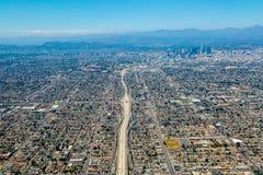 Vogelperspektive von Los Angeles-Stadtzentrum lizenzfreie stockfotos
