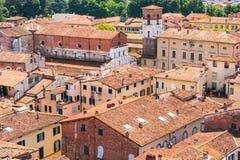 Vogelperspektive von Lucca, Italien Lizenzfreie Stockfotos