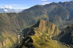 Vogelperspektive von Machu Picchu, verlorene Inkastadt in Stockfotografie