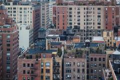 Vogelperspektive von Manhattan-Wohnungen Stockbilder