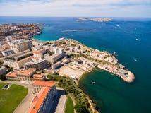 Vogelperspektive von Marseille-Pier - Vieux-Hafen, Heilig-Jean-Schloss, a stockfoto