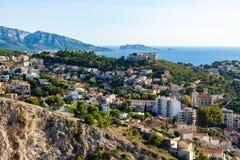 Vogelperspektive von Marseille-Stadt von Notre- Damede-La Garde cathed lizenzfreies stockbild