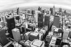Vogelperspektive von Melbourne, Australien genommen vom Rialto-Turm Fisheye Bild lizenzfreie stockfotografie