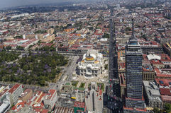 Vogelperspektive von Mexiko City mit Alameda, bellas artes und torre Lizenzfreies Stockbild