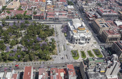 Vogelperspektive von Mexiko City mit bellas artes und Alameda Stockfotos