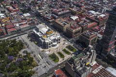 Vogelperspektive von Mexiko City u. von x27; artes s Palacio de Bellas Lizenzfreies Stockbild
